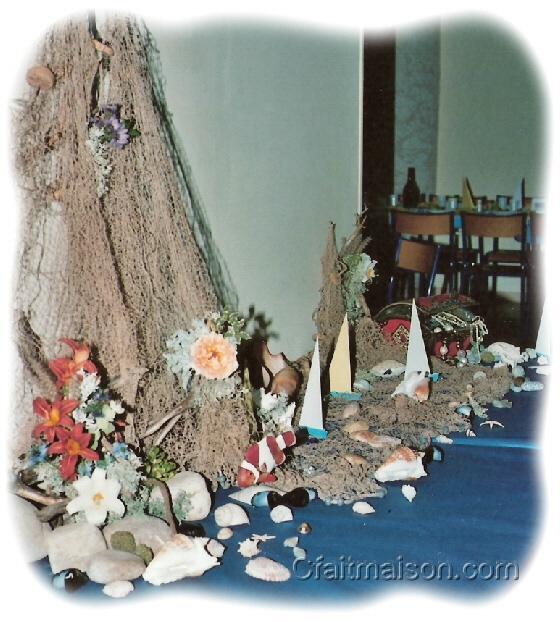 Décoration de salle et de tables sur le thème de la mer, la plage